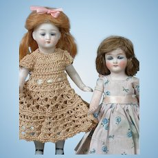 """Pair of All-Bisque Petite German Dolls in Cute Costume 5"""" and 5.5"""""""