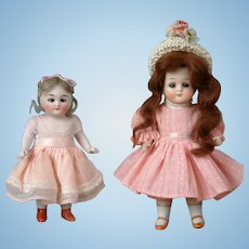 """Adorable Pair of All-Bisque German Dolls 5.5"""" and 4.5"""""""