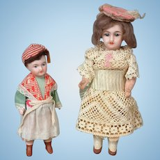 """Pair of Cabinet-Sized Bisque-Head Dolls 5"""" and 6.5"""" in Original Costumes"""