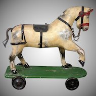 "Early Antique Wooden Horse on Wheels 14"" Length c.1860"