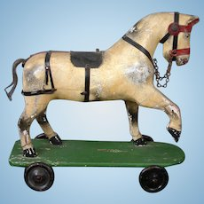 """Early Antique Wooden Horse on Wheels 14"""" Length c.1860"""