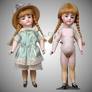 """9"""" Antique All Bisque German Mignonette Doll with Long Yellow Stockings, Closed Mouth, Great Condition!"""