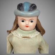 """12"""" Antique Wax Bonnet Head Doll w Wooden Limbs"""