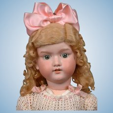 """Big 30"""" Armand Marseille 390 Antique Bisque Doll with Sunny Blond Wig"""