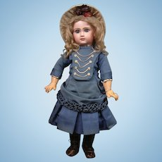 "Fabulous 24"" Closed Mouth Tete Jumeau Bebe With Stunning Blue Eyes—She Has THE LOOK!"