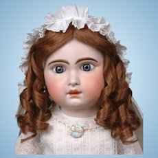 "Huge Stunning Chunky 32"" Blue-Eyed Jumeau Bebe French Antique Doll in Classic Antique Costume!!"