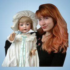"""26"""" Darling Konig & Wernicke 98 Antique Character Baby in Long Christening Gown"""