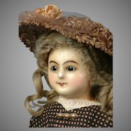 """24"""" Wax Over Paper Mache Lady Doll RARE Wire-Lever Glass Sleep Eyes"""