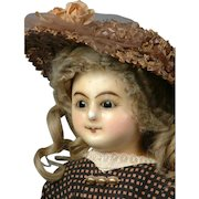 """24""""  Wax Over Paper Mache Lady Doll With RARE Wire-Lever Glass Sleep Eyes Dated 1839"""