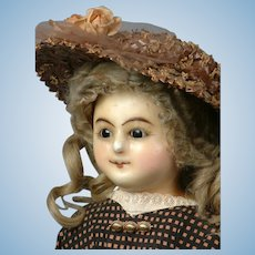 "24"" Wax Over Paper Mache Lady Doll RARE Wire-Lever Glass Sleep Eyes"