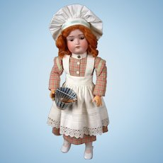 """Kestner 168 """"Chef"""" Antique Bisque Doll 21"""" on Signed Kestner Body"""