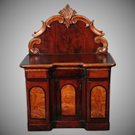 Beautiful Antique Polished Wood Cabinet -- Doll Accessory or Jewelry Cabinet