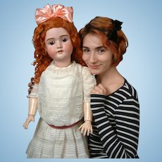 "Outstanding Life-Sized 35"" HUGE and Chunky ""Walkure"" by Kley & Hahn Antique Doll-"