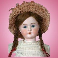 """Schoneau & Hoffmeister 1906 20"""" Antique Bisque Doll in Straw Hat"""
