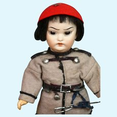 """Schoenau & Hoffmeister 4900 Asian Soldier Antique Character Doll 8.75"""""""