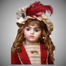 """24.5"""" Bru Jeune 11 French Bebe circa 1887-1891 in Gorgeous Wool Sailor Costume"""