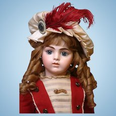 "24.5"" Bru Jeune 11 French Bebe circa 1887-1891 in Gorgeous Wool Sailor Costume"