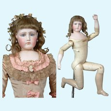 """30"""" Exhibition Portrait Jumeau Poupee with Wooden Body Featuring Bisque Hands in Silk Ballgown--So Rare!  So Perfect!"""
