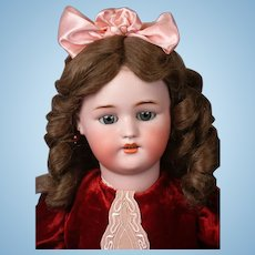"Precious 24.5"" Simon & Halbig 1078 Antique Bisque Doll in Red Velvet Dress"