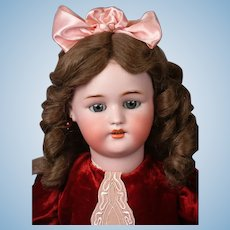 """Precious 24.5"""" Simon & Halbig 1078 Antique Bisque Doll in Red Velvet Dress"""