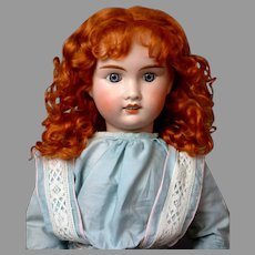 """Jules Verlingue """"Petite Francaise"""" French Bebe Antique Doll 24.5"""" in Ginger Curly Wig"""