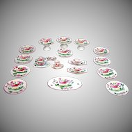 Lovely Antique French Hand Painted Antique Soft Paste Pottery Scale Tea Set ~18 Pieces~ circa 1880