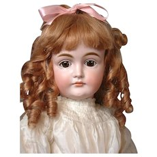 """25"""" Kestner Closed Mouth Pouty Doll circa 1890 in Antique White Silk Dress -- Excellent Condition!"""