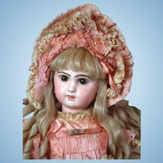 "24"" Closed Mouth Tete Jumeau in Fancy Pink Dress & Bonnet!"