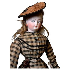 """Outstanding All Original French Fashion Poupee Doll by Louis Doleac 22"""""""