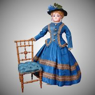 """Jolie Parisienne"" Lovely Francois Gaultier Fashion Poupee in Blue Silk Ensemble 18.5"" Tall"