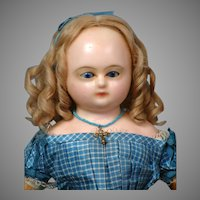 "Remarkable 18"" Wax Over Papier Mache Doll In Original Silk Gown circa 1860 in Museum Condition"