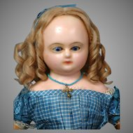"""Remarkable 18"""" Wax Over Papier Mache Doll In Original Silk Gown circa 1860 in Museum Condition"""
