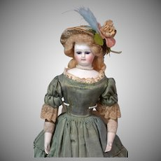 """13.5"""" Enchanting French Barrois Poupee In Antique Silk and Lace Costume~Perfect Bisque, Cobalt Eyes, + Distinct Features!"""