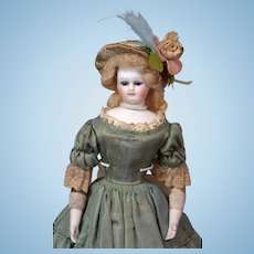 "13.5"" Enchanting French Barrois Poupee In Antique Silk and Lace Costume~Perfect Bisque, Cobalt Eyes, + Distinct Features!"
