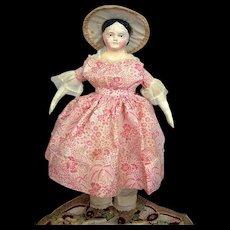 "13.5"" All Original Covered Wagon Antique German Papier Mache Doll C. 1850-60"