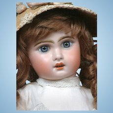 "Gorgeous 19"" Tete Jumeau 1907 Size 9 Bebe with Original Blue Paperweight Eyes & Superb Antique Dress & Hat!!"