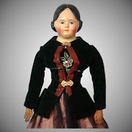 "Early 25"" Antique Greiner-Type Paper Mache Doll~Wonderful Costume~Clean Condition!"