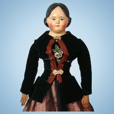 """Early 25"""" Antique Greiner-Type Paper Mache Doll~Wonderful Costume~Clean Condition!"""