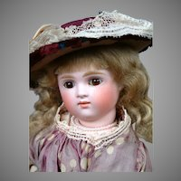 "15"" Kestner XI All Original Pouty Swivel Head Lady Doll in Silk Costume"
