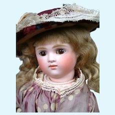 "15"" Kestner XI All Original Pouty Swivel Head Lady Doll in Silk Costume"