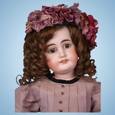 """22"""" Gebruder Kuhnlenz for the French Trade in Fabulous Antique Silk Dress w/ Original Wig!"""