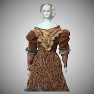 "Superb Early 12"" Parian Lady  ""Empress Eugenie"" with Blue Eyes & Lustre Headdress in Fabulous Costume"