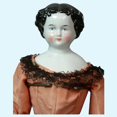 """Lovely 17"""" Antique China Lady Doll in Salmon Silk Ensemble & Black Chantilly Lace"""