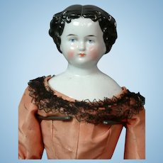 "Lovely 17"" Antique China Lady Doll in Salmon Silk Ensemble & Black Chantilly Lace"