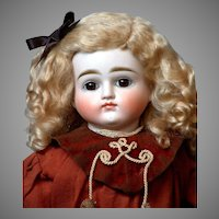 """17"""" Turned-Head Closed-Mouth Pouty Kestner Lady in Unique Antique Costume"""