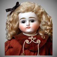 "17"" Turned-Head Closed-Mouth Pouty Kestner Lady in Unique Antique Costume"