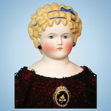 """Exceptional Tinted-Bisque Lady 23"""" in Burgundy Velvet Gown with Crochet Lace"""