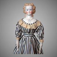 "Demure 25"" Antique Parian Lady with Detailed Plate & Original Antique Undergarments c.1875"