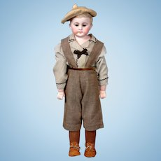 """Adorable William Goebel Antique Bisque """"American Schoolboy"""" on Kidskin Body with Bisque Arms"""