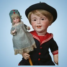"~Rare~ 15.5"" Antique AM 3200 Shoulder-head Marotte Doll w/ Bisque Arms!"